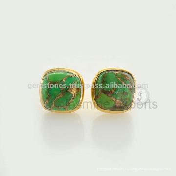 925 стерлингового серебра позолоченная золото покрытием зеленый меди бирюзовый драгоценных камней Безель серьги изготовление ювелирных изделий