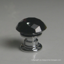 Muebles para bebés Crystal Glass Black Door Knobs Dia. 20 mm