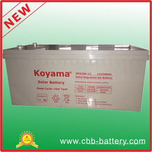 Batterie profonde solaire de gel d'acide de plomb du cycle 12V 200ah pour Telecom, système solaire
