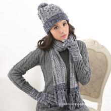 Factory supply woolen yarn winter women custom order knitted hat glove scarf set