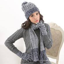 Fornecimento de fábrica de lã de inverno mulheres ordem personalizada de malha chapéu luva cachecol set