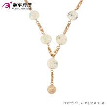 42770 nouvelle chaîne en or design bijoux mode 18 k délicat jade or perle plaqué or bijoux collier