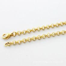 Collier de mode 2014 bijoux collier rond simple collier en or poli haute qualité bijoux en acier inoxydable