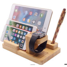 New products bamboo wood Charging bracket stand with USB 2.0 4 port hub port for all mobile phone