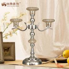 Kundenspezifischer langstieliger Metallglas-Kerzenhalter für Hochzeitstisch-Mittelstücke