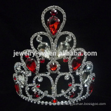 Red stone crystal silver waterdrop wedding accessories necklace earring crown wholesale