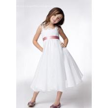 A-line Wide Straps Tea-length Taffeta Lace Ribbons Flower Girl Dress