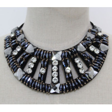 Damenmode Marineblau Kristall Chunky Kragen Halskette (JE0152-2)