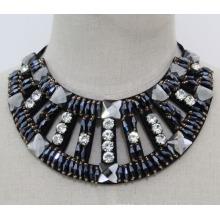 Женская мода темно-синий Кристалл коренастый воротник ожерелье (JE0152-2)