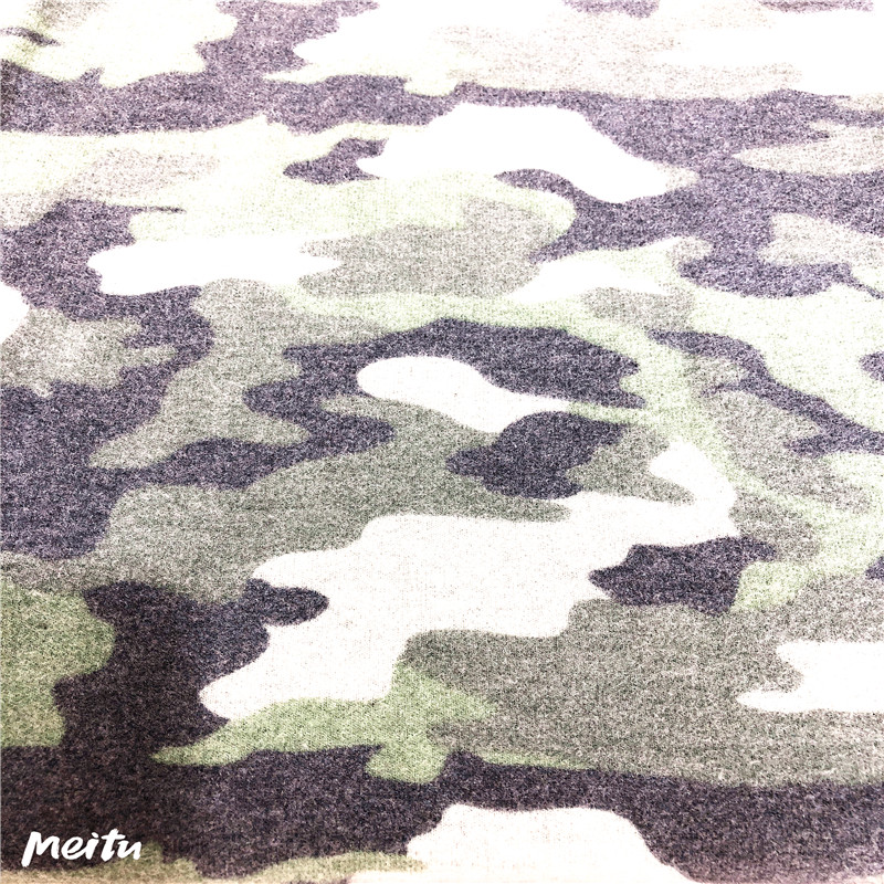 T/R/SPX camouflag print & brushed knitting
