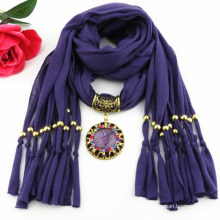 Fashion lady's elegant tassels pendant embellished jewelry scarf 2017
