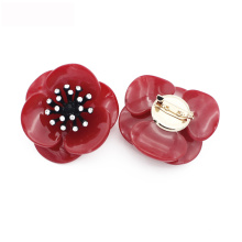 2020 fancy big large red acrylic flower shaped pin brooches women jewelry
