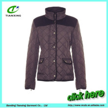 wholesale black quilted zipper cuff ladies coat