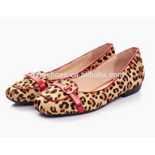 Hochwertige Rosshaar-Frauen flache Loafer-Design Mode Schuh Quadrat Zehe Ballett-Stil
