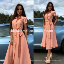 Aliexpress Amazon vente chaude femmes robe couleur unie à long design split robe femmes sexy à manches courtes