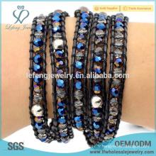 Accessoires Boho à la mode Bracelet en cuir et en cristal
