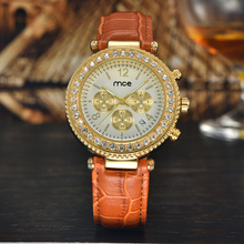 wholesale stainless steel back analog chrono diamond women watch