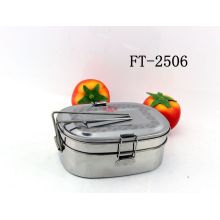 Stainless Steel Double-Deck Lunch Box with Lid (FT-2506-XY)