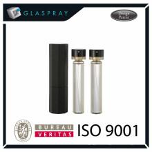 Botella de perfume recargable de 20ml con relleno negro brillante y spray