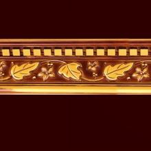 W13cm PS Brown Color Leaf Shape Mouldings Cornice Building Material