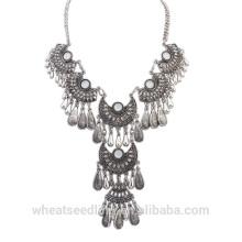 Tendência ocidental acessórios produtos quentes para as mulheres colar de prata do vintage