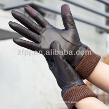 Gants de cuir noir en cuir de peau de mouton nobles