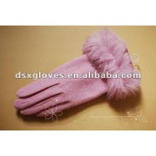 Luvas de caxemira rosa com punho de pele de coelho