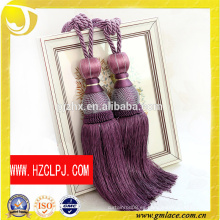 Zhejiang fabricante personalizado púrpura rayón cortina borla