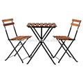 Outdoor Bistro Table Set Including 1 Table and 2 Chairs Made of Acacia