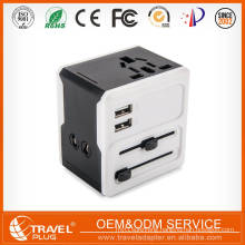 Wholesale All-in-one Plug Adapter AU US UK EU Plug Power Wall Charger Universal AC Socket 2 USB Ports