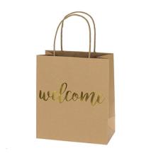 Sacos de papel luxuosos do presente dos sacos de papel de Kraft do saco de compras com projeto personalizado ouro