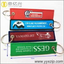 Porte-clés de broderie personnalisé blanc bon marché keychian