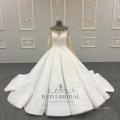 Elfenbein hochwertige applizierte lange Ärmel 2018 Brautkleid Ball Brautkleid