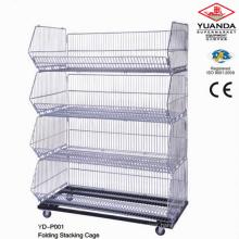 Rolling Display Stand Stacking Basket Shelf
