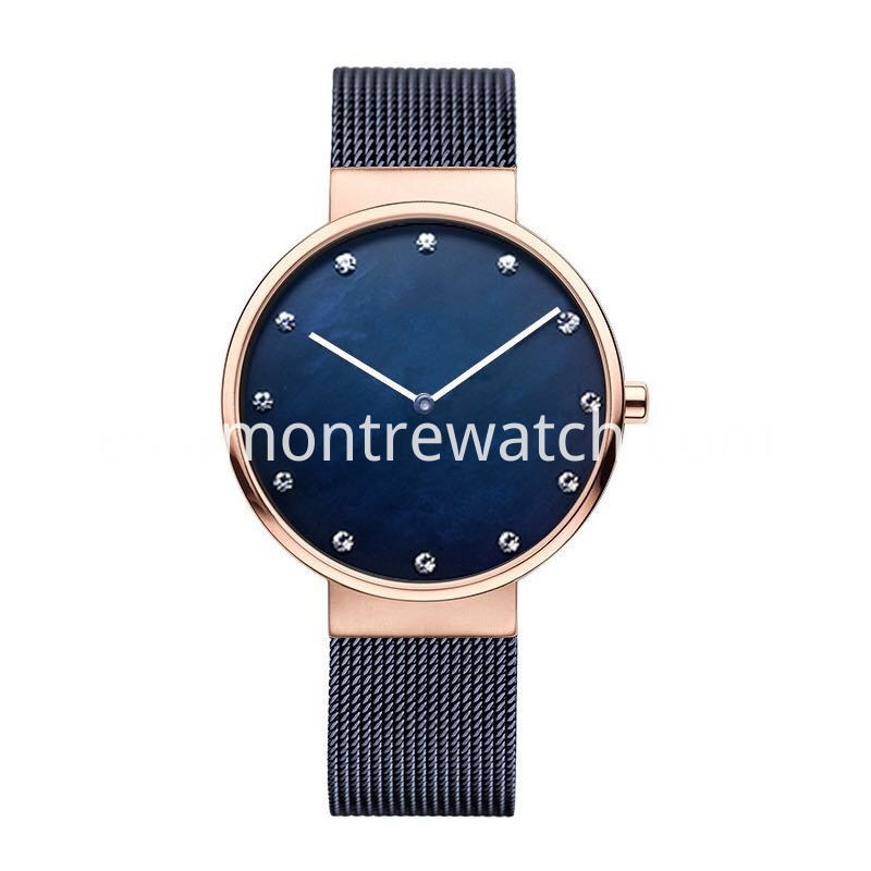 Rose Gold Blue Dial Watch