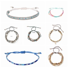 multi-layer Bracelet color Seed beaded woven rope beach Elastic Charm Bohe stackable wax coated thread adjustable for women