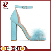 high heel chunky women sandals with fur