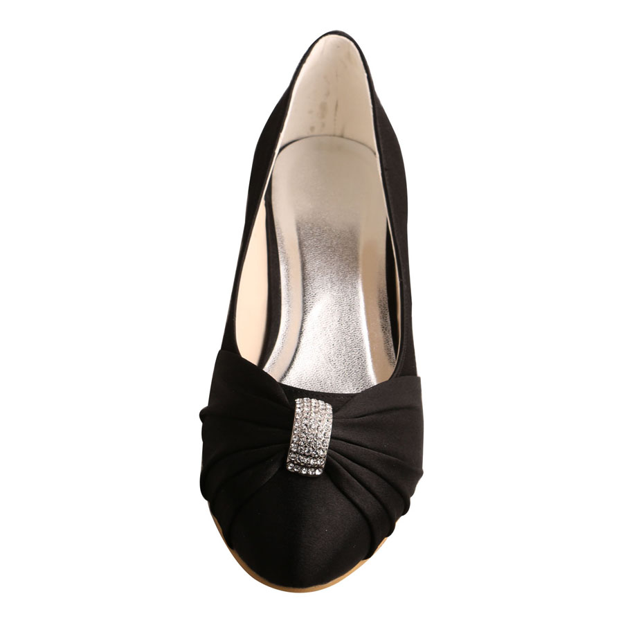 Black Satin Shoes Wedding Low Heel