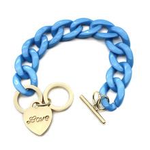 2020 Newest Zinc alloy heart shape charm hand jewelry for women unique Acrylic chain link bracelet