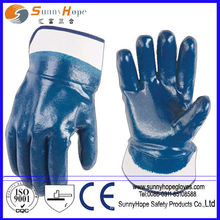 fully dipped safety cuff nitrile gloves cotton coated blue