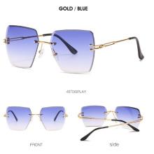 Super hot Eyewear  Fashion 2020 Retro Vintage Men Women Tinted Small Rectangle Rimless Sunglasses