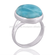 Indian Gemstone Jewelry Natural Larimar Gemstone Beautiful Design 925 Silver Ring Jewelry