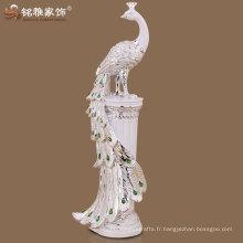 Figurine de paon de longue queue de haute qualité pour décor de l'hôtel de maison