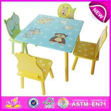 2014 Cute Animal Table en bois et chaise jouet pour enfants, Table et chaise bon marché Set pour enfants, Table et chaise pour bébé W08g088