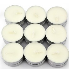 scented white tea light candles with an aluminum base