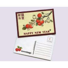 Cartão bordado do cumprimento do ano novo, cartão com Applique mim
