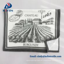 Alibaba atacado personalizado impresso linho toalha de chá waffle impresso toalhas de prato de algodão waffle weave pique cozinha toalhas de chá