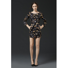 Long Sleeve Print Fashion Women Clothes/Ladies Dress