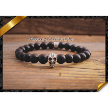 Wholesale Silver Skull Beads Smooth Round Agate Jewelry Bracelets (CB031)