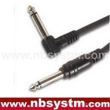 6.35mm mono plug right angle to 6.35mm mono plug straight cable
